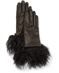 Guanti Giglio Fiorentino Leather Gloves W Fur Cuffs Black