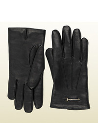 Gucci Black Leather Gloves With Stirrup Detail