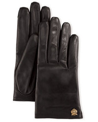 Gucci Leather Tiger Trim Gloves