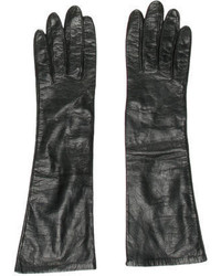 Hermes Herms Black Leather Gloves