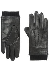 Hugo Boss Boss Heylor Leather Glove With Knit Cuff