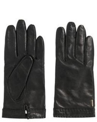Hugo Boss Garuni Lambskin Leather Gloves 75 Black
