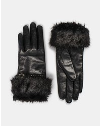 Dune Icicle Leather Faux Fur Gloves