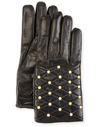 Imoni Studded Quilted Leather Gloves Black