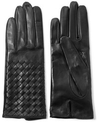Bottega Veneta Intrecciato Leather Gloves Midnight Blue