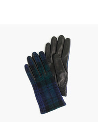 J.Crew Leather Gloves With Black Watch