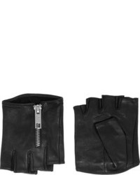 Karl Lagerfeld Zipped Fingerless Leather Gloves