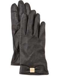 Kate Spade New York Logo Bow Leather Gloves Black