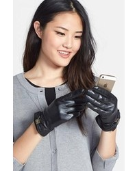 Kate Spade New York Logo Bow Leather Gloves