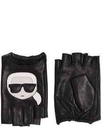 Karl Lagerfeld Kikonik Karl Leather Fingerless Gloves