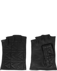 Karl Lagerfeld Kkuilted Fingerless Leather Gloves