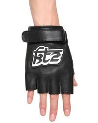 Kokon To Zai Logo Patch Leather Fingerless Gloves