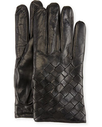 Imoni Leather Basketweave Gloves Black