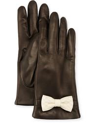 Portolano Leather Bow Cuff Gloves Blackwhite