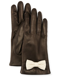Portolano Leather Bow Cuff Gloves Blackwhite