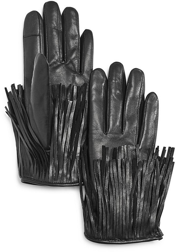 Rebecca Minkoff Leather Fringe Tech Gloves