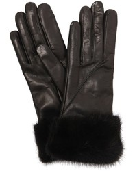 Leather Gloves W Mink Fur