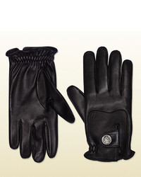 Gucci Leather Gloves With Crest From Equestrian Collection