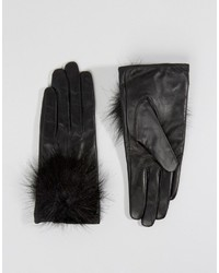 Aldo Leather Gloves With Faux Fur Pom