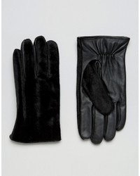 Asos Leather Gloves With Faux Pony Skin In Black