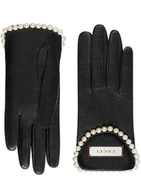 Gucci Leather Gloves With Pearls