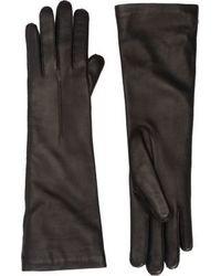 Barneys New York Leather Mid Forearm Length Gloves Black