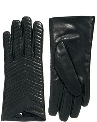 Asos Leather Quilted Gloves Black