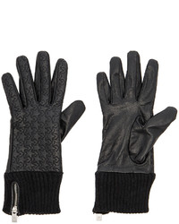 Maison Scotch Leather Rib Cuff Gloves In Black