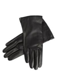 Liz Claiborne Sleek Black Leather Gloves Cashmere Lined