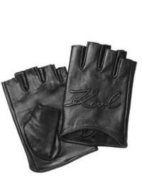 Karl Lagerfeld Logo Embossed Fingerless Leather Gloves