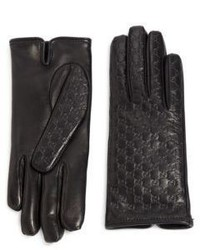 Gucci Logo Embossed Leather Gloves