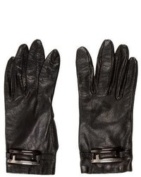 Fendi Logo Leather Gloves