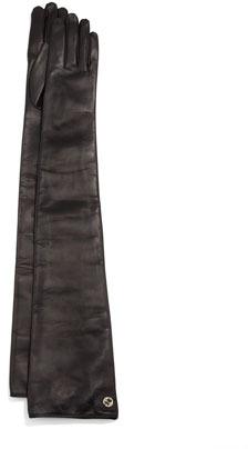 Gucci Long Guanti Donna Napa Leather Opera Gloves Black