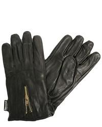 Luxury Divas Black Leather 3m Gloves With Zipper Closure