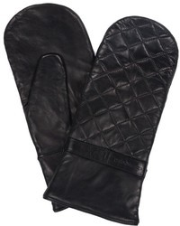 Mackage Georgie Black Leather Mittens With Quilt Stitches