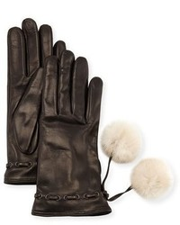 Mario Portolano Leather Gloves W Fur Pompoms Blackwhite