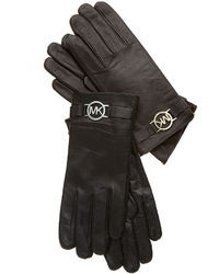 MICHAEL Michael Kors Michl Michl Kors Leather With Logo Trim Gloves