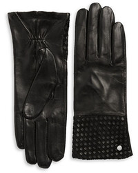 Michael Kors Michl Kors Basketweaved Leather Gloves