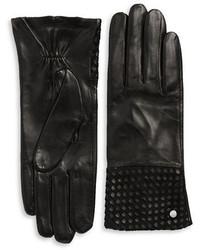 Michael Kors Michl Kors Basketweaved Leather Gloves
