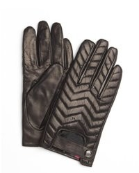 Vince Camuto Milk Chocolate Chevron Quilted Leather Driving Gloves