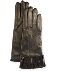 Portolano Nappa Leather Fringe Cuff Gloves Black