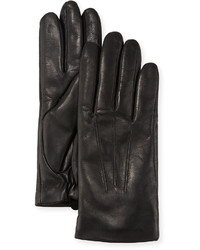 Neiman Marcus Three Point Leather Gloves W Faux Fur Lining Black