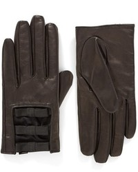 New york elastic bow leather gloves medium 1183532