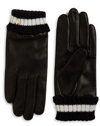 Kate Spade New York Knit Cuff Leather Gloves