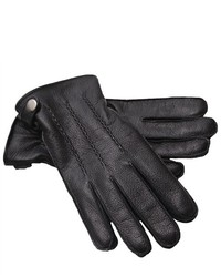 Next Standard Leather Gloves Genuine Leather Side Button Ribbed Wrist Black