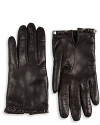 Valentino Garavani Noir Rockstud Leather Gloves