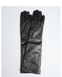 Portolano Black Leather Long Cashmere Lined Gloves