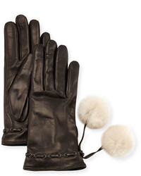 Portolano Leather Gloves W Fur Pompoms Blackwhite