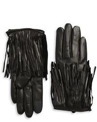 Rebecca Minkoff Fringe Trim Leather Gloves