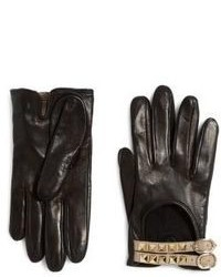 Valentino Rockstud Buckled Leather Gloves